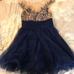 Blue Ornamented Prom Dress